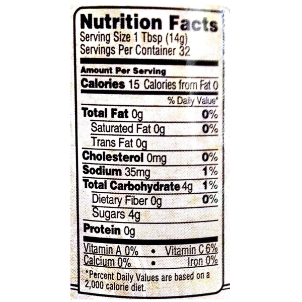 close up of german relish nutrition label